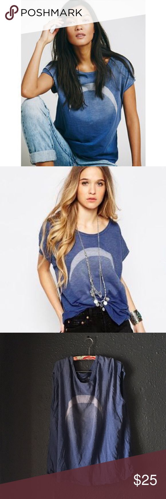 🌙Free People Thunder Moon Tee Excellent condition,just wrinkle 😉 Free People Tops Tees - Short Sleeve