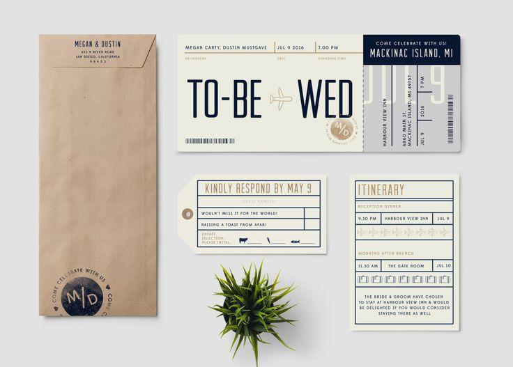 Boarding Pass destination wedding invitation suite…