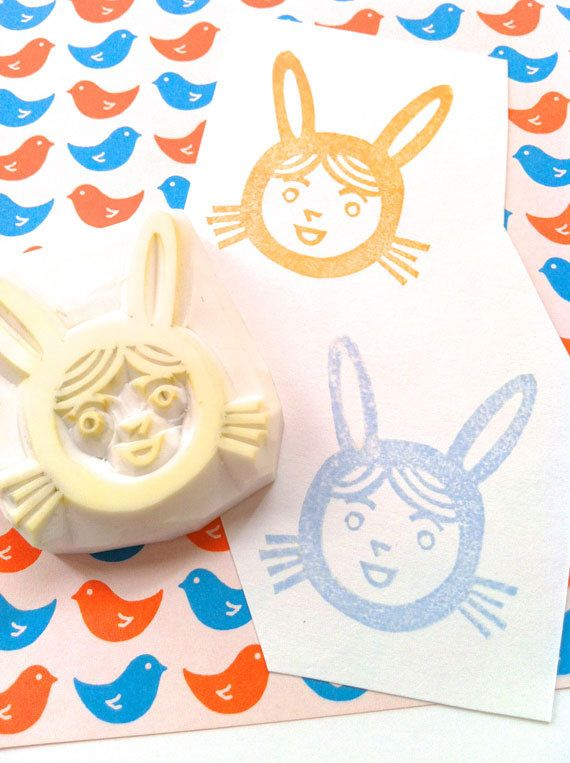 my new work. easter bunny boy hand carved rubber stamp hand by talktothesun