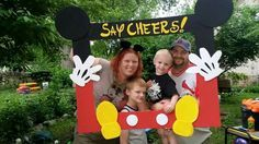 Mickey Mouse Clubhouse picture frames made with Styrofoam board and paint perfect for any little mouseketoodle.