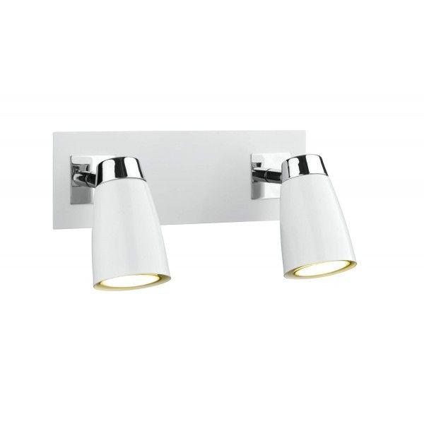 Loft 2 Light Low Energy Spot Switch Polished Chrome & Matt White - catalogue