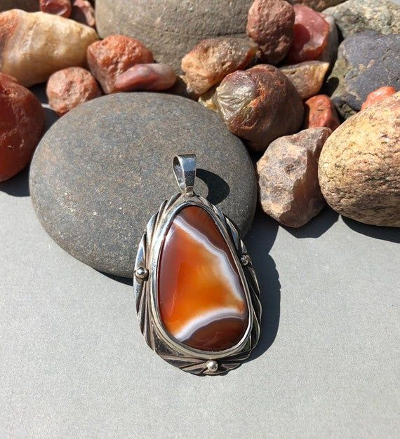 Multi Color Lake Superior Agate Pendant with Bands and Tubes .950 Sterling Silver