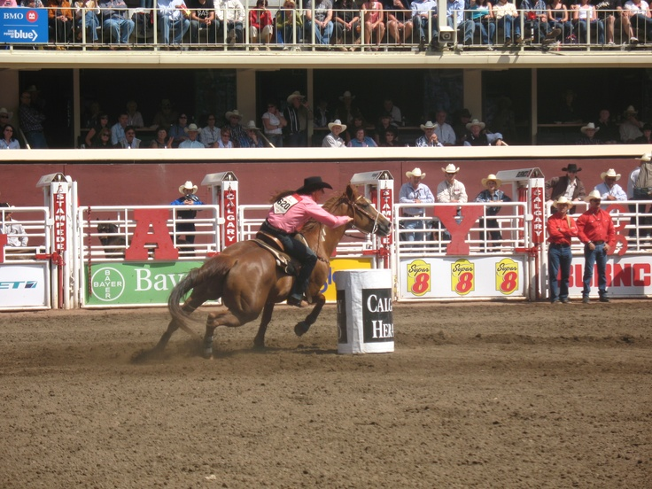 Barrel racer turning a barrel at the Calgary Stampede. More Stampede info at  http://calgary.foundlocally.com/entertainment/fest-stampede.htm