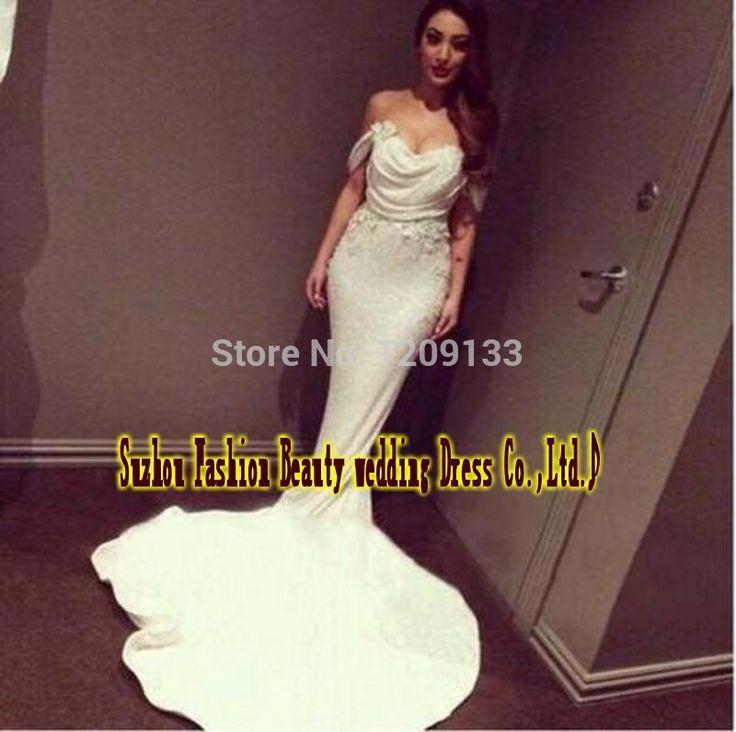 Ну вечеринку 2015 русалка белый вечерние платья с плеча блестками ну вечеринку платья на заказ вечернее платье