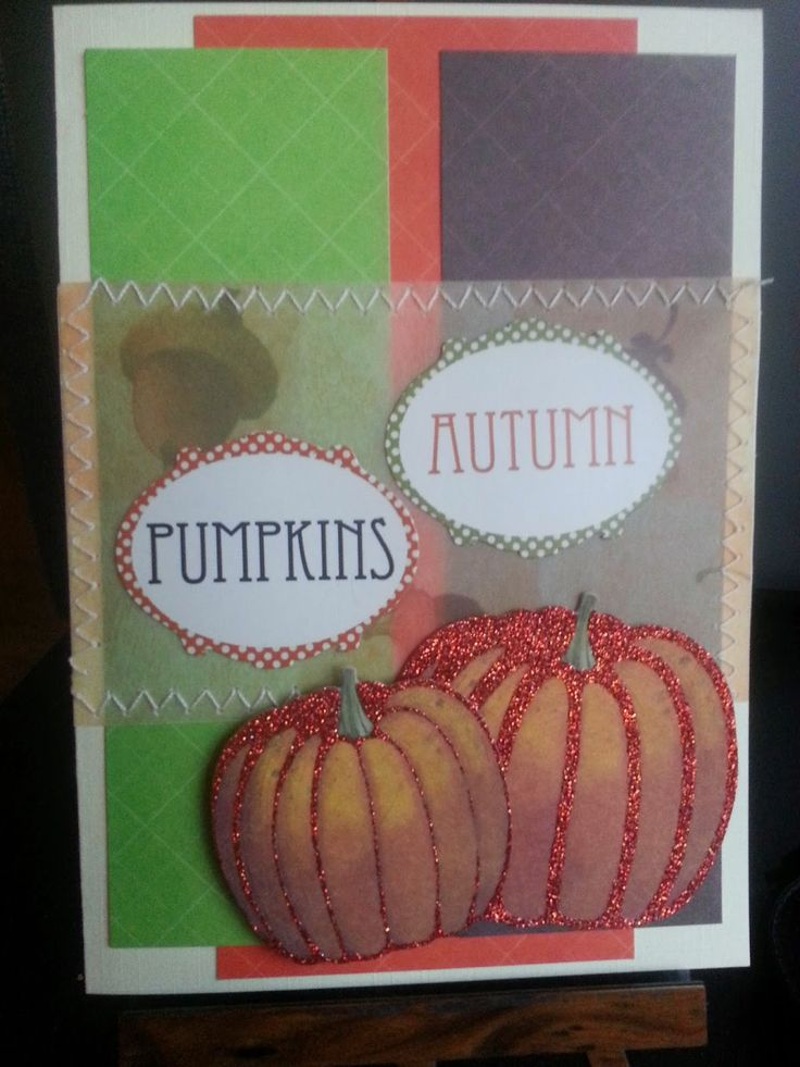 Clean and Simple autumn card with DCWV paper and pumpkins from WRMK