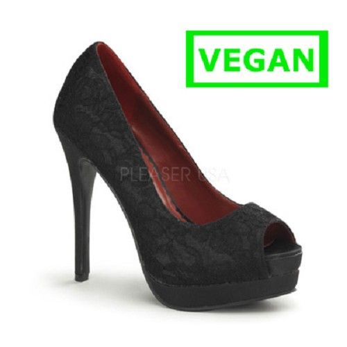Bella-16 zwart satijn/kant- pin-up, burlesque hakken schoen peeptoe pump