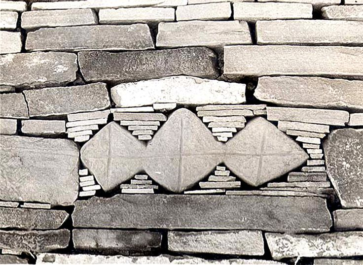 onsomething:  onsomething  Pueblo Bonito |  AD 828 and 1126 New Mexico Photo by George A. Grant 1929 Ornamental Piece of Masonry - East wall of plaza