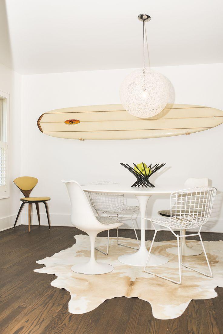 Cowhide Rug, Designer Eero Saarinen for Knoll-Saarinen Round Dining Table,  Designer Eero Saarinen for Knoll-Saarinen Armless Tulip Chairs, Designer  Harry ...