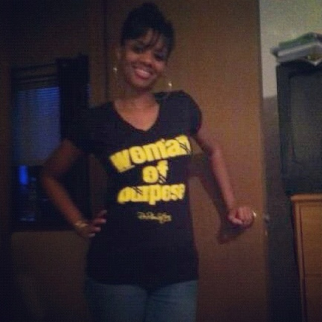 My homegirl rockin her Woman of Purpose tee!!! This is a must have! Only found at http://his-tory.net!!! Comes in two colors!!!: Color