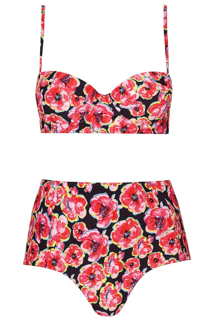 Poppy Print Bikini Top and High-Waisted Bottoms