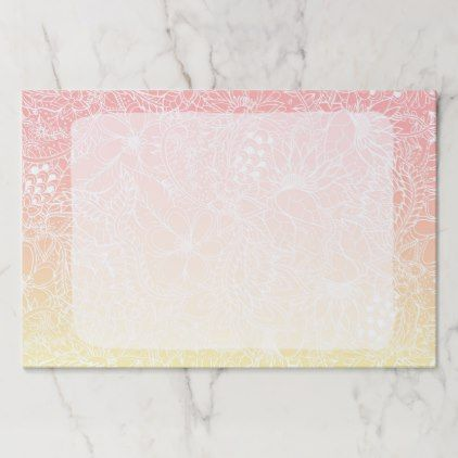 Fruity pink lemon yellow gradient floral pattern paper pad - girly gift gifts ideas cyo diy special unique