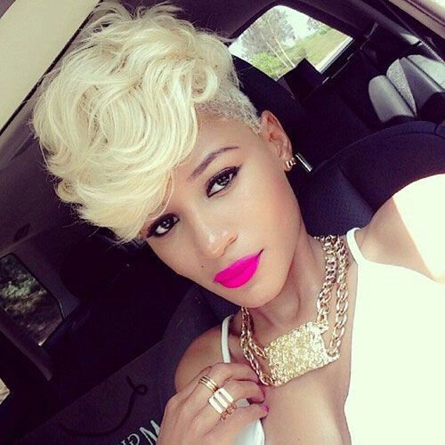 Platinum Blonde Layered Mohawk for Black Women