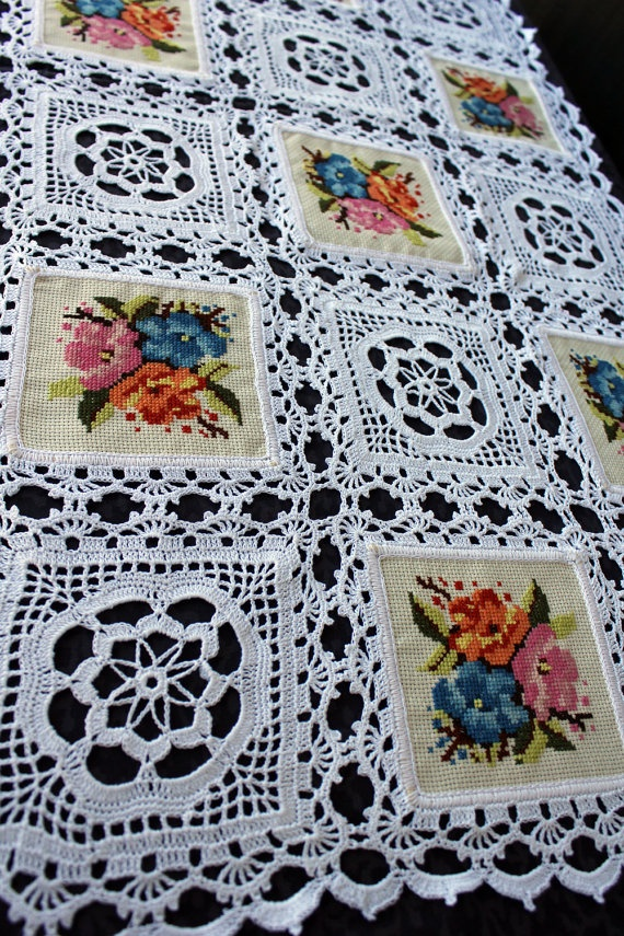 Crochet flower squares ~ no pattern - nice with embroidered squares or fabric panel squares and follow crochet edgings as shown