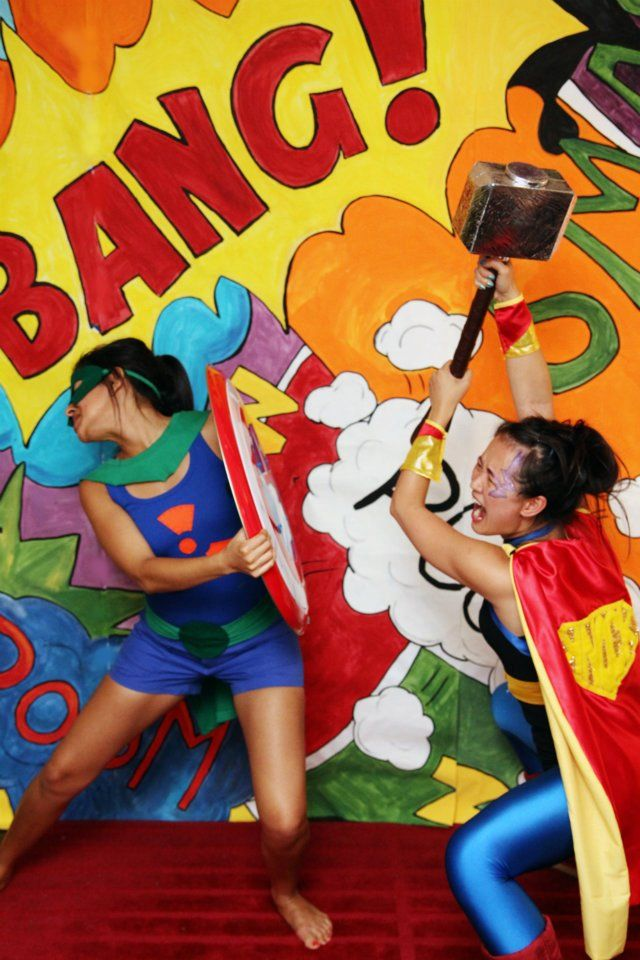 with the super hero theme I would be fun and easy to create a Photo booth another way to raise money to help our Cause