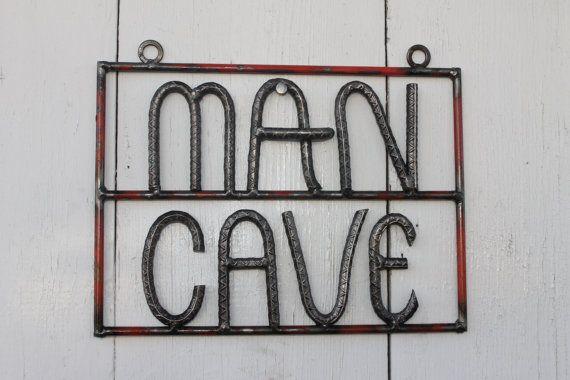 Salvaged rebar man cave sign rebar art gift for by ReyesReclaimed