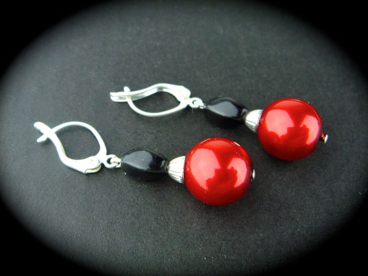 Vintage Czech Glass Earrings Drop Leverback Pearl Silver Red Black New Old Stock #Unbranded #DropDangle