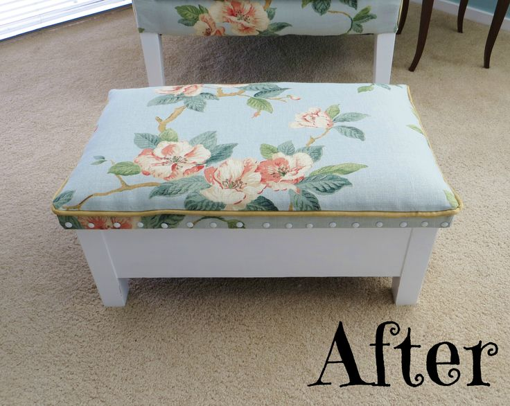 Re-upholstered and painted foot stool at www.roseandsunday.co.nz