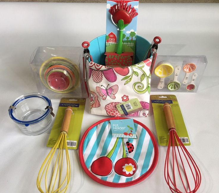 New Red Bundle Kitchen Accessories Basket: towel cup spoon whisk jar brush tong  | eBay
