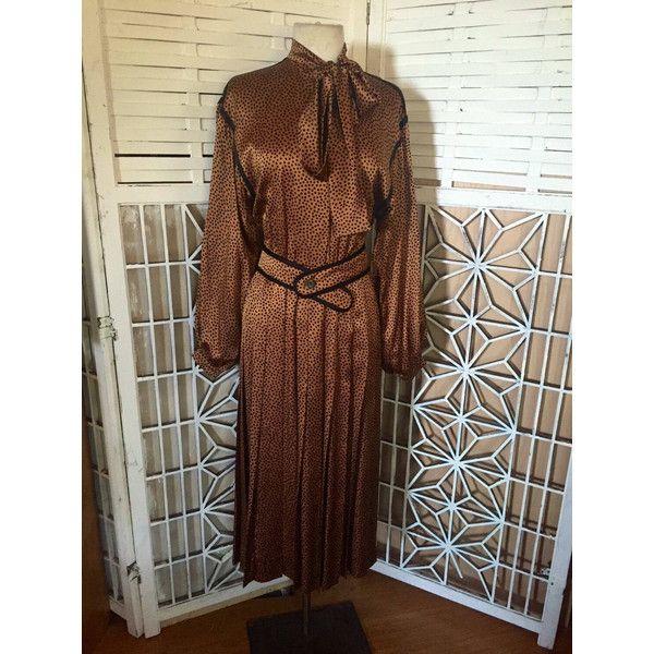 belted leopard print dress (£88) ❤ liked on Polyvore featuring dresses, long brown dress, vintage long dresses, vintage dresses, cutout dresses and polka dot dresses