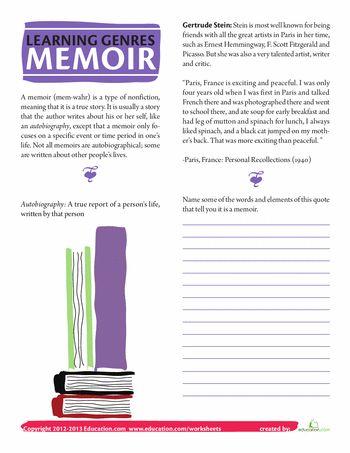 Worksheets: What is a Memoir?