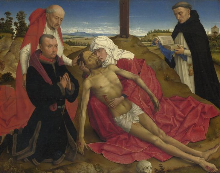 Pietà / Piedad // probably about 1465 // Probably by the workshop of Rogier van der Weyden // The Virgin holds the dead body of Christ. On the left is Saint Jerome, the protector of the unidentified donor, and on the right is probably Saint Dominic // © The National Gallery, London // #Jesus #Christ #Cristo #calvary #GoodFriday #VirginMary