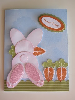 Easter card...tooo cute....punch art cottontail bunny escaping with a carrot...