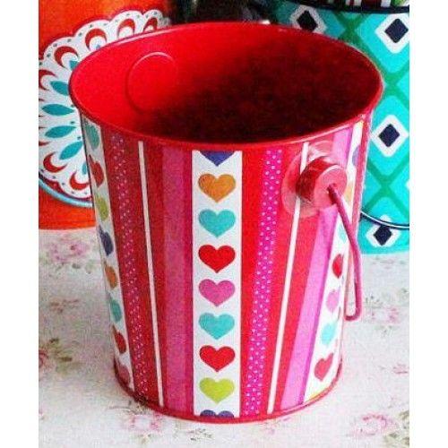 Metal Pail/Bucket - Heart Print - Shop Online Now at www.lillyjack.com.au