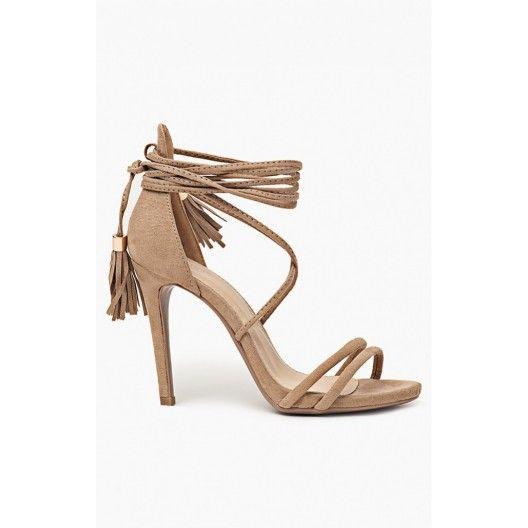 Štýlové dámske sandále na vysokom podpätku v hnedej farbe - fashionday.eu