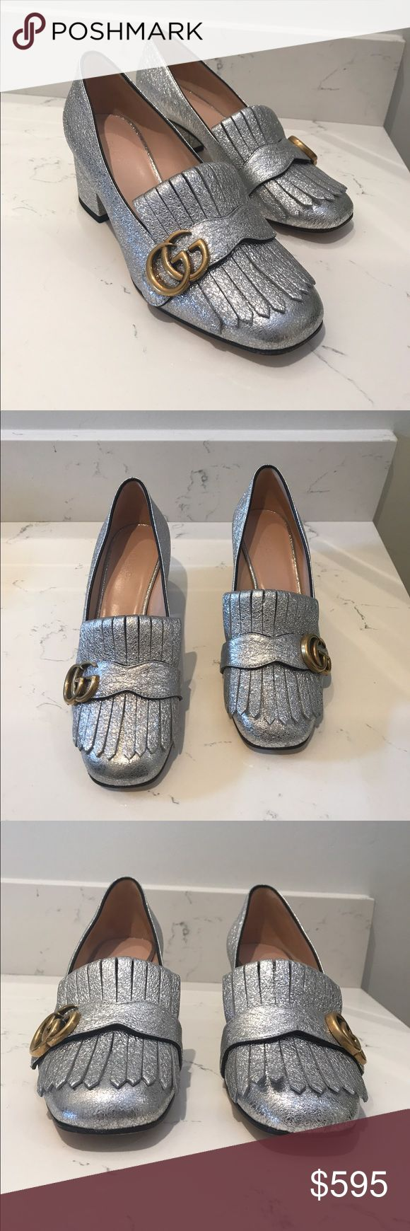 Gucci Loafer Pump Authentic Gucci Peyton Silver Glitter Slip On Loafer Pump with Gold GG Hardware. Like New!  Worn once. Includes Original Box & Dust Bags. No Trades.  Firm on Price. Gucci Shoes