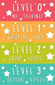 This listing is for four 4.5x11 voice level descriptions. Each one color coated and decorated with cute stars! Designed with older kids in mind, this Voice Level Chart will work for students of all ages! The charming design compliments any classroom decor without being a distraction to students.