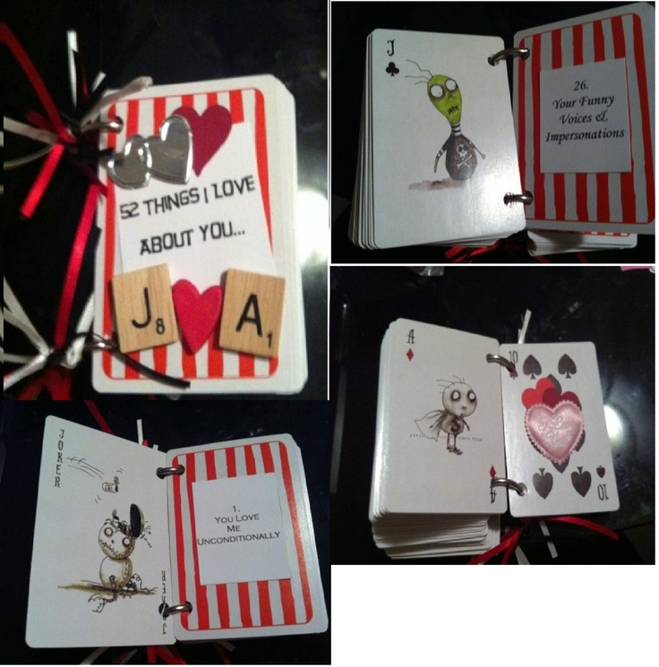 """50 things I love about you.."" book made from Tim Burton Playing Cards- gave to my husband as part of his wedding present!"