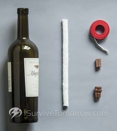 Another wine bottle oil lamp tutorial. For indoor use, use olive oil! - paint with glass paint for holiday lanterns!