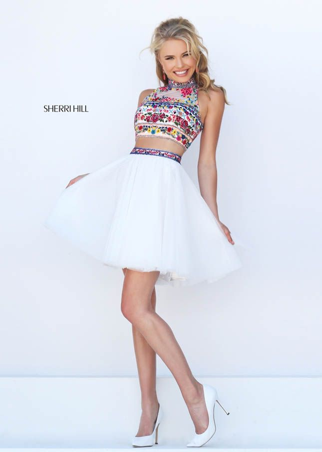Beading Fully-cover Crop Top Freshman Homecoming Dresses