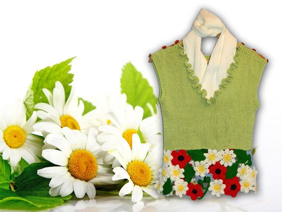 Green Womans Knitted WestJacket with Camomile by KatrinKnitting, $39.00