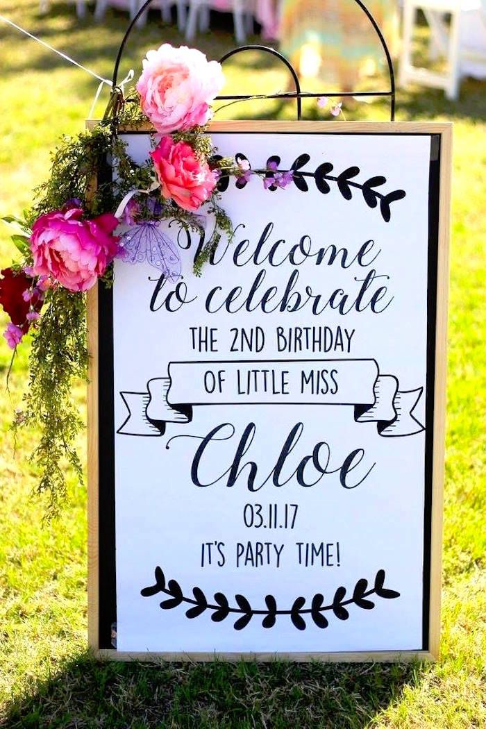 "Welcome sign adorned with floral bunting from a Minnie Mouse ""Oh TWO-dles"" 2nd Birthday Tea Party on Kara's Party Ideas 