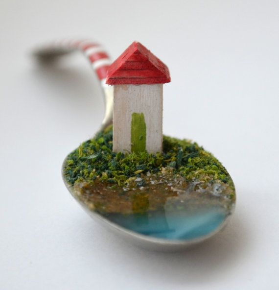 Life in a spoon: tiny miniature house gift by WoodenHeartCo