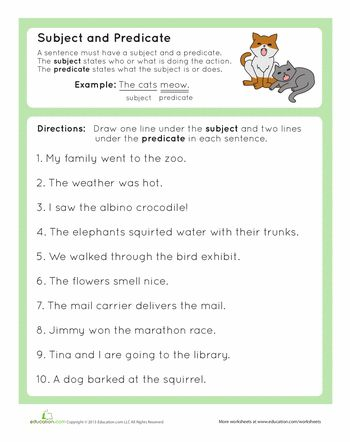 Worksheets: Complete Subject and Complete Predicate