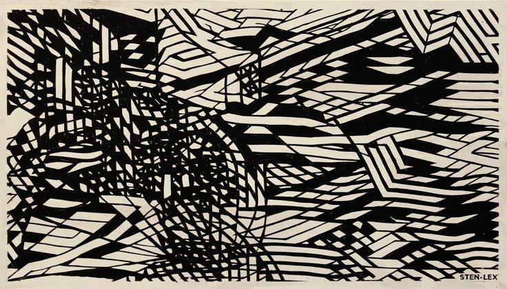 Sten Lex, (Roma,1982) (Taranto, 1982),  Untitled, 2015, Stencil poster on wood, 50 x 90 x 4,5 cm