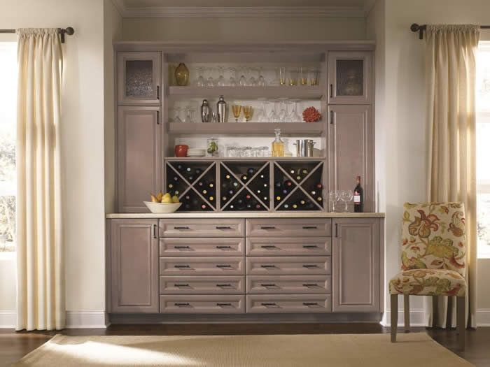 Dry Bar Cabinets | Dry bar, butler's pantry, or built-in hutch with thick floating ...