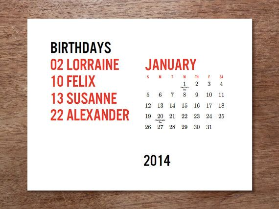 PDF Printable 2014 Calendar  Minima by empapers on Etsy, $10.00