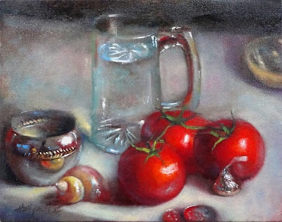"Tomatoes with Glass, Silver, Shell and Kiss 11""x14"" Oil on canvas HALL GROAT II"