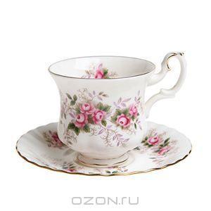 """Чашка с блюдцем """"Лавандовые розы"""". Фарфор, деколь, золочение. Великобритания, 1961 год - купить по выгодной цене в разделе антиквариат, винт..."""