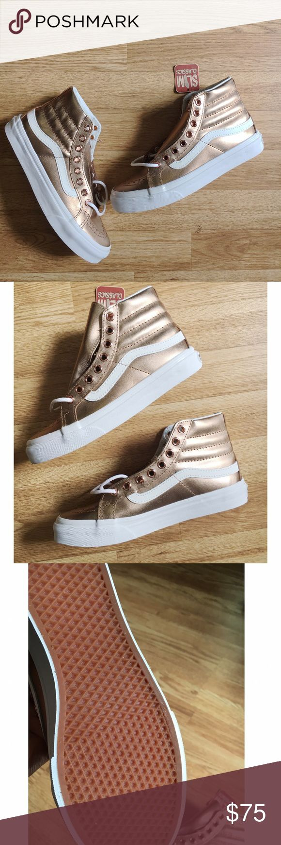 Vans Women's Sk8 Hi Slim Metallic Sneaker Vans Sk8-Hi Slim, a slimmed down version of the legendary Vans lace-up high top, features metallic leather uppers, padded collars for support and flexibility, and signature rubber waffle outsoles. NWT & never worn. ❌NO TRADES❌ Vans Shoes Sneakers