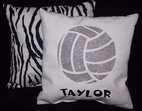 12 x 12 PERSONALIZED GLITTER VOLLEYBALL Pillow by ThePillowshack