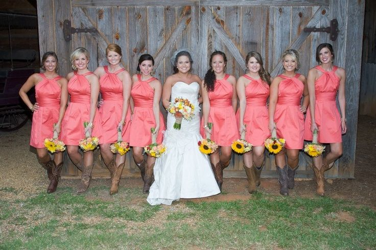 coral bridesmaid dresses with cowboy boots - Google Search ...