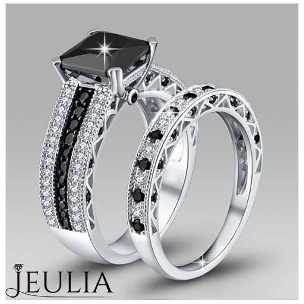 Black Diamond Ring #jeulia #blackring #fashionjewelry