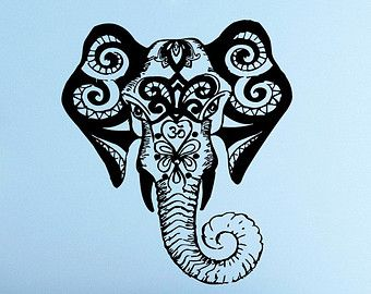 Wall Decals Elephant Indian Pattern Yoga Decal Vinyl By