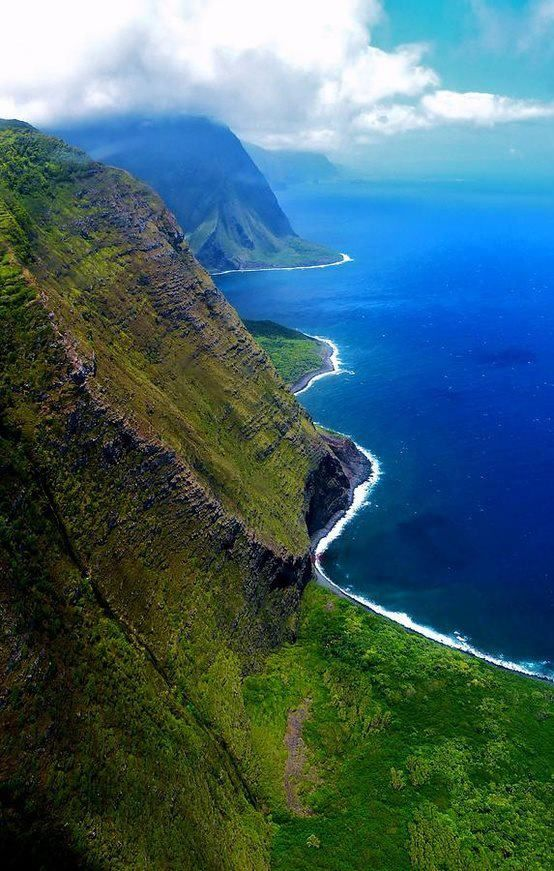 Molokai Coast, Hawaii. Helicopter tour from Maui airport. You'll never forget it.  www.bluehawaiian.com
