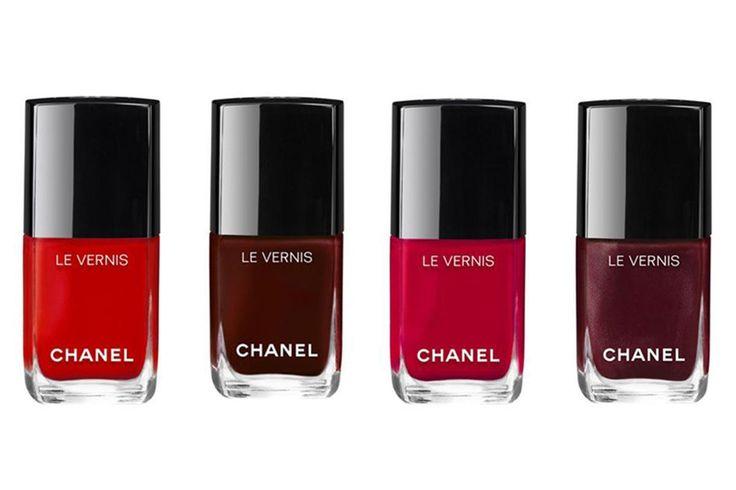 Rouge Essentiel, Rouge Noir,  Shantung e  Mythique - le vernis Chanel