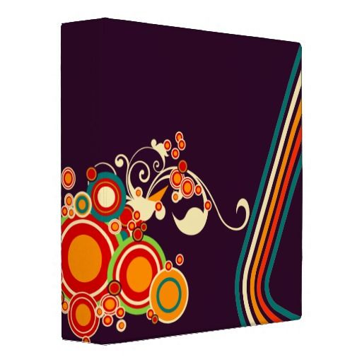 Abstract floral ornaments 3 ring binder